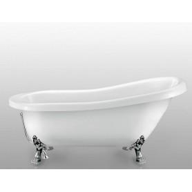 Акриловая овальная ванна отдельностоящая Magliezza Alba 155,5x72,5 ножки хром ➦
