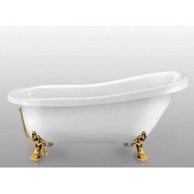 Акриловая овальная ванна отдельностоящая Magliezza Alba 155,5x72,5 ножки золото ➦