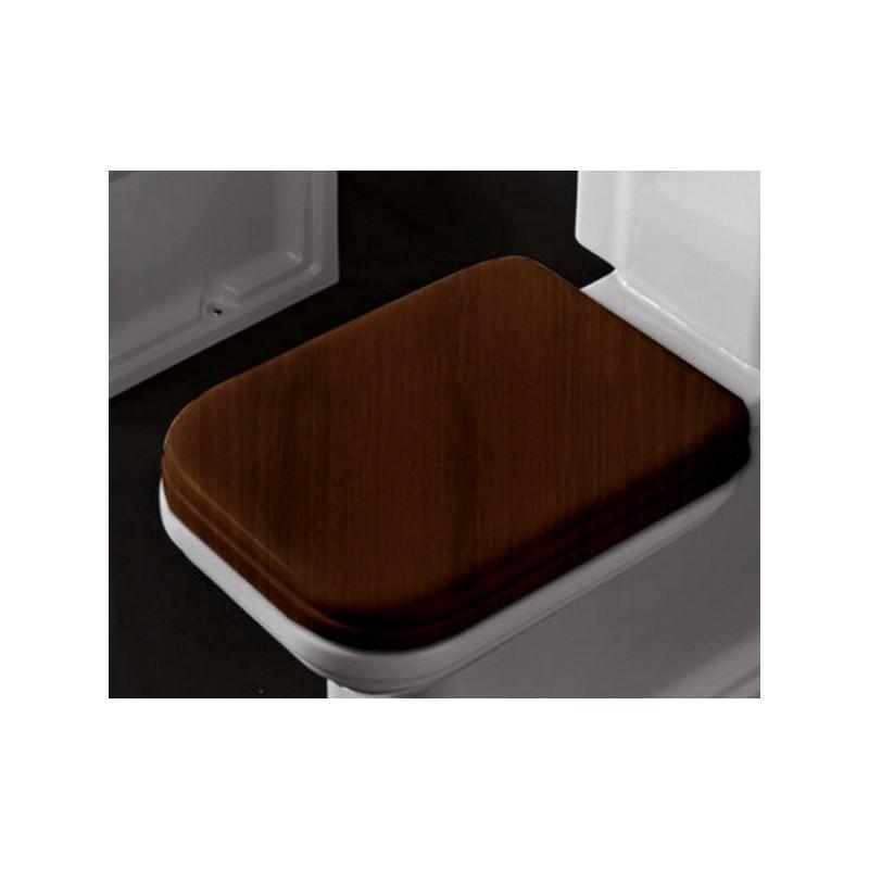 Деревянное сидение для унитаза Kerasan Waldorf 418740 с микролифтом, орех / золото