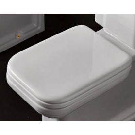 Сидение для унитаза Kerasan Waldorf 418601 с микролифтом, белое / бронза ➦