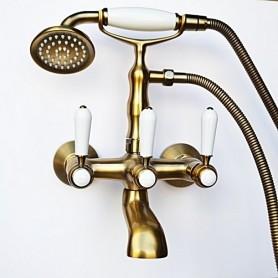 Смеситель для ванны в комплекте с лейкой TL-3-cr Magliezza Bianco 50105-3-br бронза