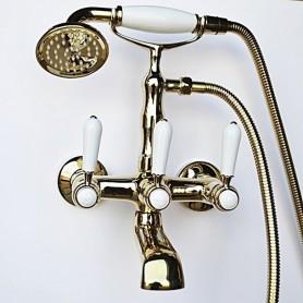Смеситель для ванны в комплекте с лейкой TL-3-cr Magliezza Bianco 50105-3-do золото