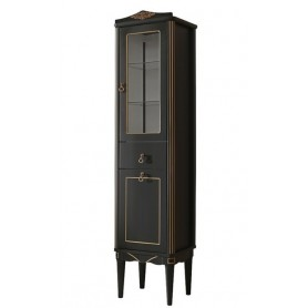 Шкаф-колонка Белюкс Верди П40 с корзиной для белья в черном цвете с патиной