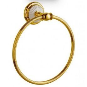 Полотенцедержатель кольцо Bogeme Palazzo Bianco 10105 золото/белый ➦ Vanna-retro.ru