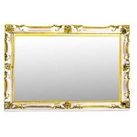 Зеркало прямоугольное Migliore 70.504 (цвет белый с золотом) ➦ Vanna-retro.ru