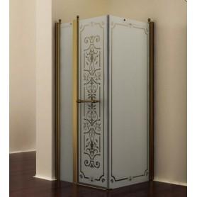 Душевой уголок Romance Collection Skara 90x90 см., профиль бронза, стекло матовое с прозрачным узором
