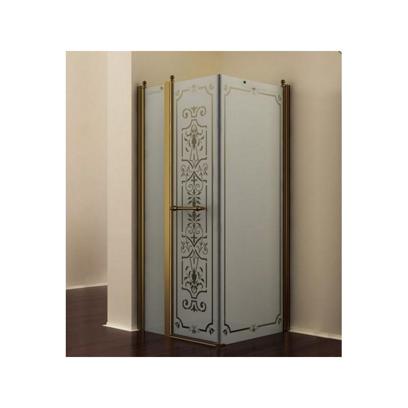 Душевой уголок Romance Collection Skara 90x90 см., профиль бронза, стекло матовое с