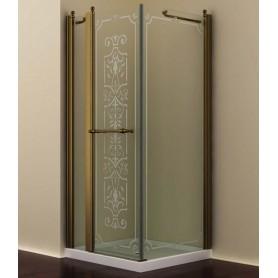 Душевой уголок Romance Collection Skara 90x90 см., профиль бронза, стекло прозрачное с матовым узором