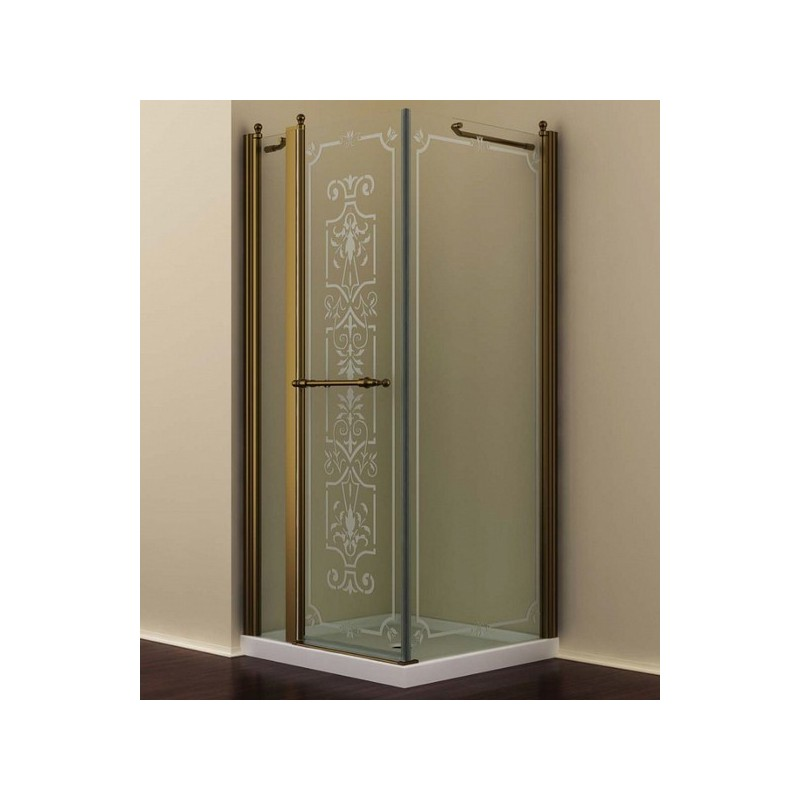 Душевой уголок Romance Collection Skara 90x90 см., профиль бронза, стекло