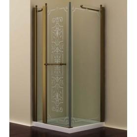 Душевой уголок Romance Collection Skara 120x90 см., профиль бронза, стекло прозрачное с матовым узором