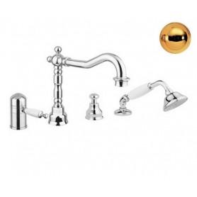 Смеситель на борт ванны с термостатом Migliore Oxford 6358 золото
