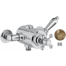 Смеситель для душа и ванны с термостатом Cezares Elite DE-T-02 бронза