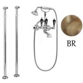 Смеситель для ванны напольный Cezares Diamond VDP-02-Sw-N бронза, ручка Swarovski Nero