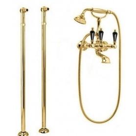 Смеситель для ванны напольный Cezares Diamond VDP-03-Sw-N золото, ручка Swarovski Nero