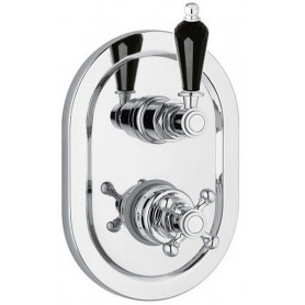 Смеситель для ванны и душа с термостатом Cezares Vintage VDIM2-T-01-Sw-N хром Swarovski Nero