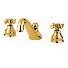 Смеситель для раковины на три отверстия Migliore Lady 912 золото