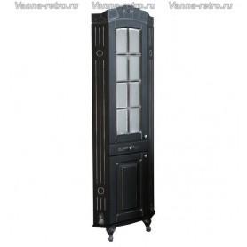 Шкаф угловой Атолл Александрия (черный / патина серебро)