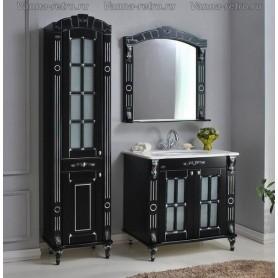 Мебель для ванной Атолл Александрия 80 К (черный / патина серебро) 85х59 см ➦
