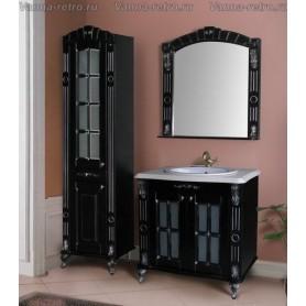 Мебель для ванной Атолл Александрия 80 (черный / патина серебро) 85х59 см ➦