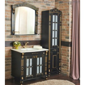 Мебель для ванной Атолл Александрия 80 К (черный / патина золото) 85х59 см