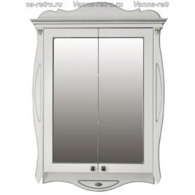 Зеркальный шкаф Атолл Ривьера (слоновая кость / патина серебро)