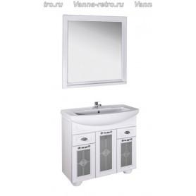 Мебель для ванной АСБ Бергамо 85 (белый - патина серебро) со стеклом