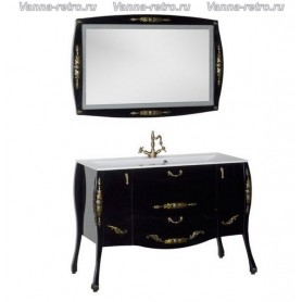 Мебель для ванной Акванет Виктория 120 (черный с золотом) ➦ Vanna-retro.ru