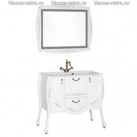 Мебель для ванной Акванет Виктория 90 (белый с золотом) ➦ Vanna-retro.ru