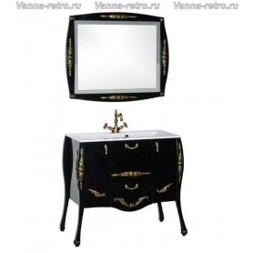Мебель для ванной Акванет Виктория 90 (черный с золотом) ➦ Vanna-retro.ru
