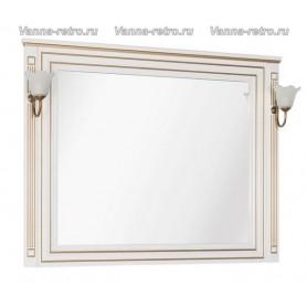Зеркало Акванет Паола 120 (белый с золотом) ➦ Vanna-retro.ru