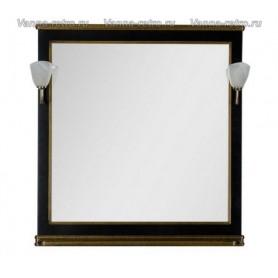 Зеркало Акванет Валенса 110 (черный, декор краколет золото)