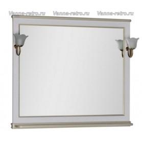 Зеркало Акванет Валенса 100 (белый, декор краколет золото) ➦ Vanna-retro.ru