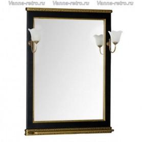 Зеркало Акванет Валенса 80 (черный, декор краколет золото)