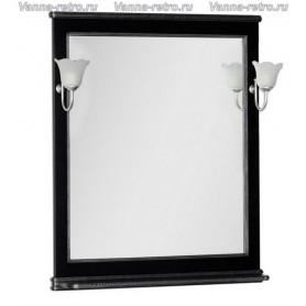 Зеркало Акванет Валенса 80 (черный, декор краколет серебро)