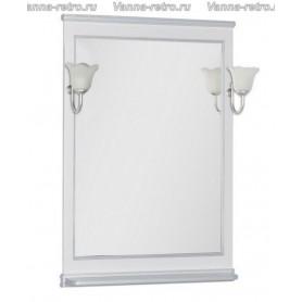 Зеркало Акванет Валенса 80 (белый, декор краколет серебро)