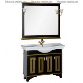 Мебель для ванной Акванет Валенса 110 (черный, декор краколет золото) ➦