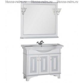 Мебель для ванной Акванет Валенса 100 (белый, декор краколет серебро)