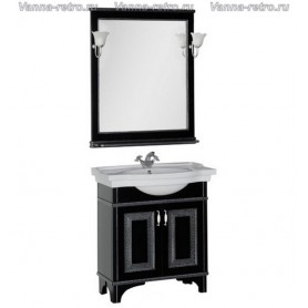 Мебель для ванной Акванет Валенса 70 (черный, декор краколет