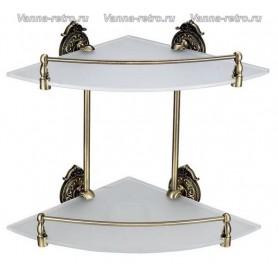 Полка стеклянная угловая 2-ая Hayta Gabriel Classic Bronze 13910-2 ➦ Vanna-retro.ru