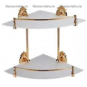 Полка стеклянная 2-ая угловая Hayta Gabriel Classic Gold 13910-2 ➦ Vanna-retro.ru