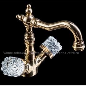 Смеситель для раковины Boheme Crystal 292-CRST (золото) ➦ Vanna-retro.ru