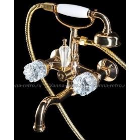 Смеситель для ванны Boheme Crystal 293-CRST (золото) ➦ Vanna-retro.ru