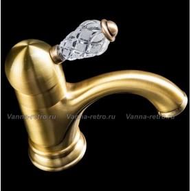 Смеситель для раковины Boheme Crystal 301-CRST (бронза) ➦ Vanna-retro.ru