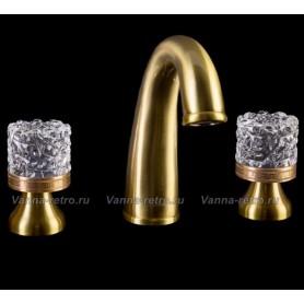 Смеситель для раковины на 3-ри отверстия Boheme Crystal 317-CRST (бронза)