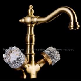 Смеситель для раковины Boheme Crystal 312-CRST (бронза)