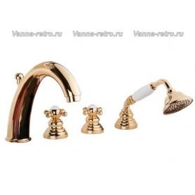 Смеситель на борт ванны Gattoni Vivaldi 12400 в цвете золото ➦ Vanna-retro.ru