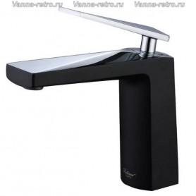 Смеситель для раковины Boheme Venturo 371-B черный с хромом ➦ Vanna-retro.ru