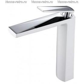 Смеситель для раковины Boheme Venturo 372-W белый с хромом ➦ Vanna-retro.ru