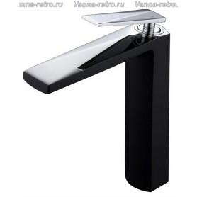 Смеситель для раковины Boheme Venturo 372-B черный с хромом ➦ Vanna-retro.ru