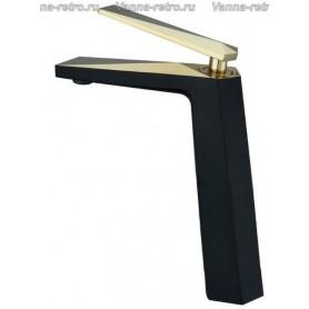 Смеситель для раковины Boheme Venturo 382-B черный с золотом ➦ Vanna-retro.ru